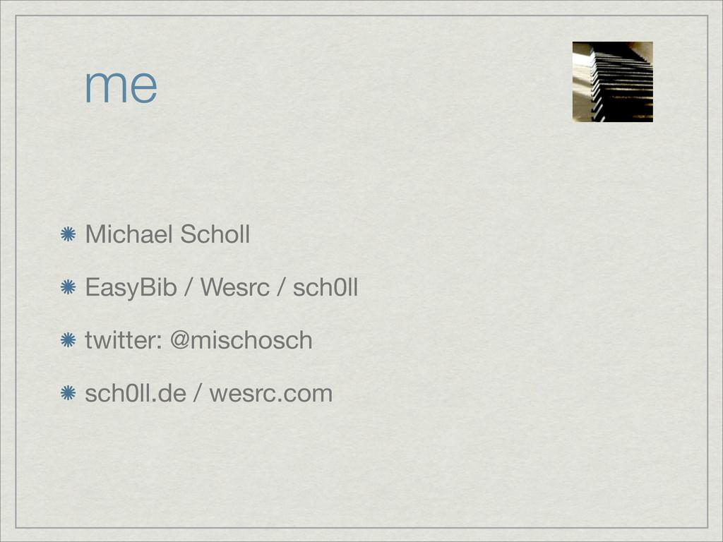 me Michael Scholl EasyBib / Wesrc / sch0ll twit...