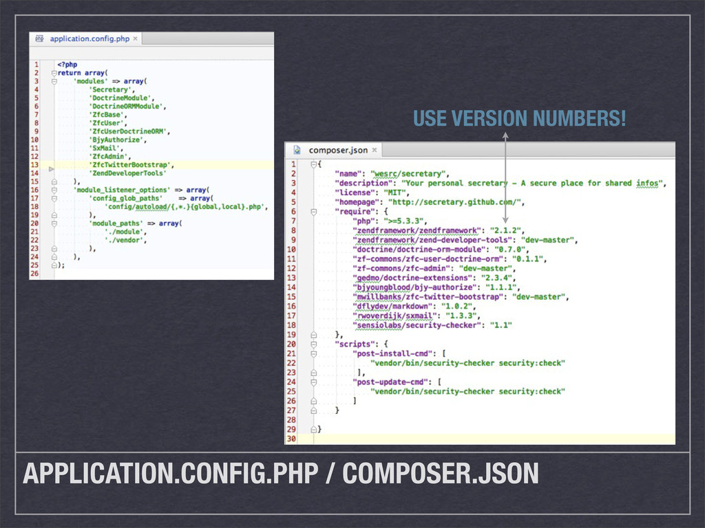 APPLICATION.CONFIG.PHP / COMPOSER.JSON USE VERS...