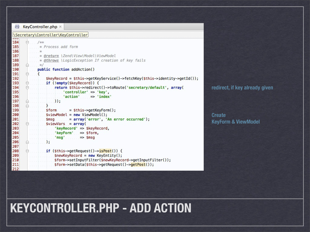 KEYCONTROLLER.PHP - ADD ACTION redirect, if key...