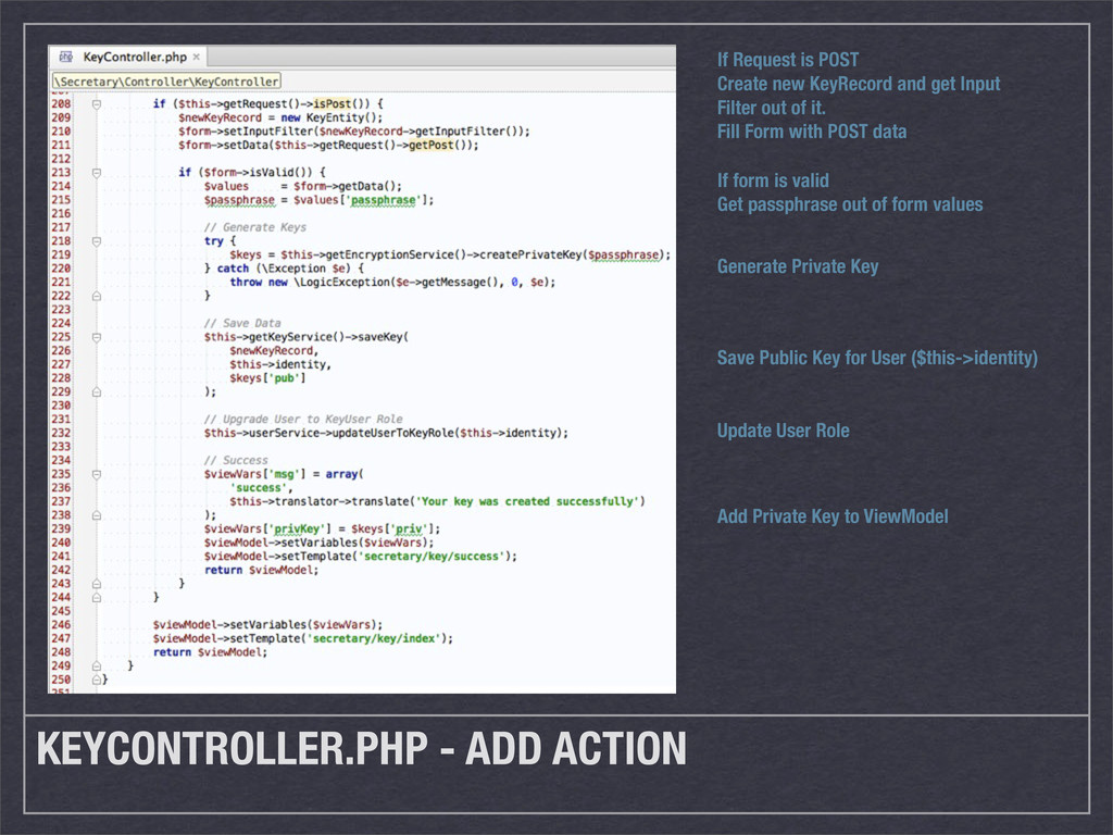 KEYCONTROLLER.PHP - ADD ACTION If Request is PO...