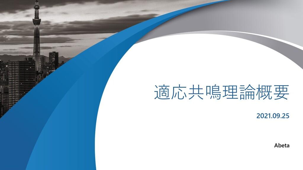 XX University 適応共鳴理論概要 2021.09.25 Abeta