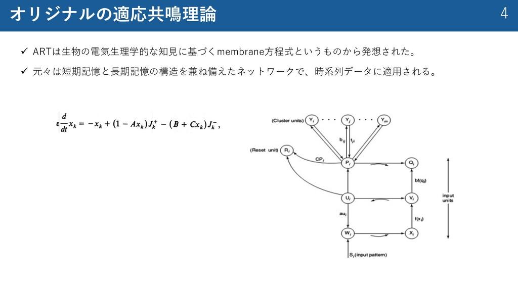 4 オリジナルの適応共鳴理論 ü ARTは⽣物の電気⽣理学的な知⾒に基づくmembrane⽅程...