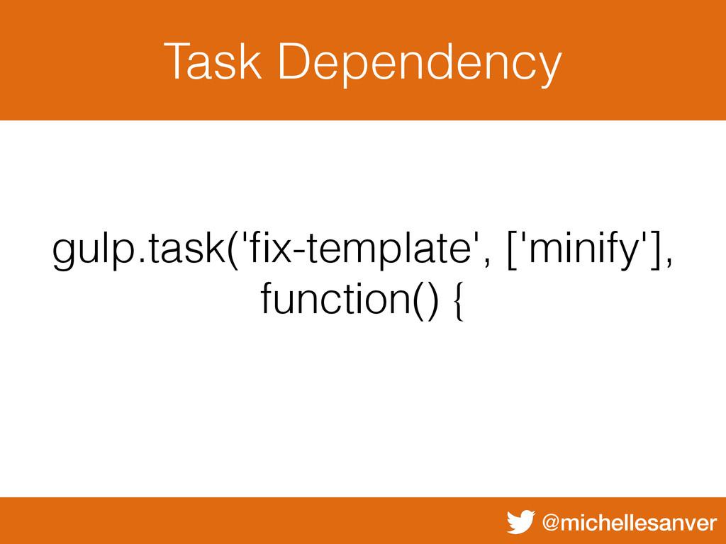 @michellesanver Task Dependency gulp.task('fix-t...