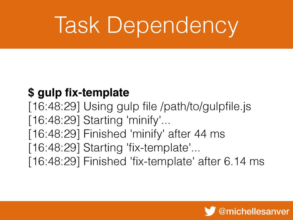 @michellesanver Task Dependency $ gulp fix-templ...