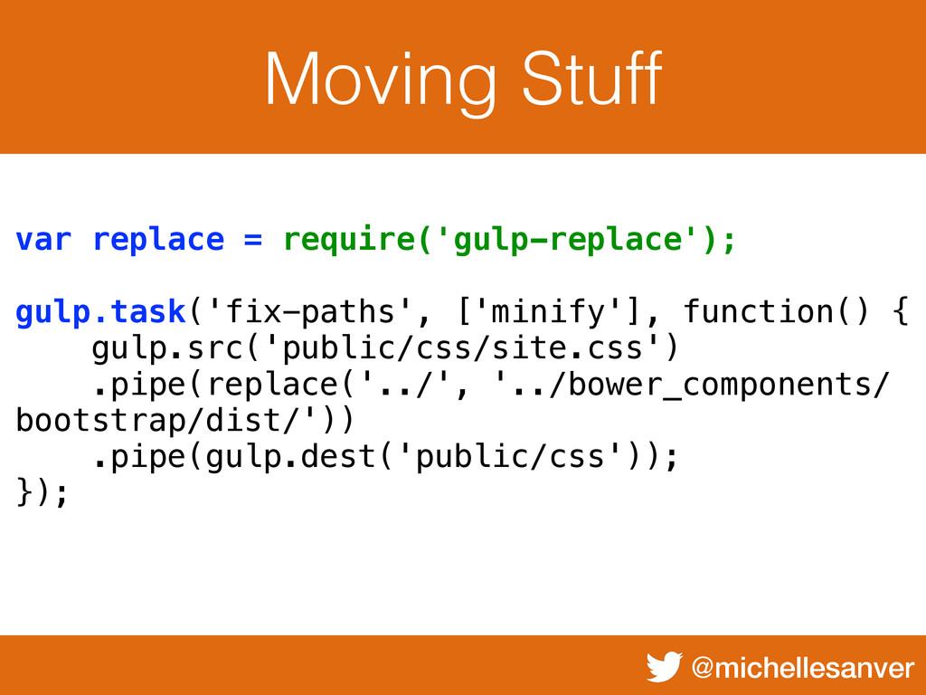 @michellesanver Moving Stuff var replace = requ...