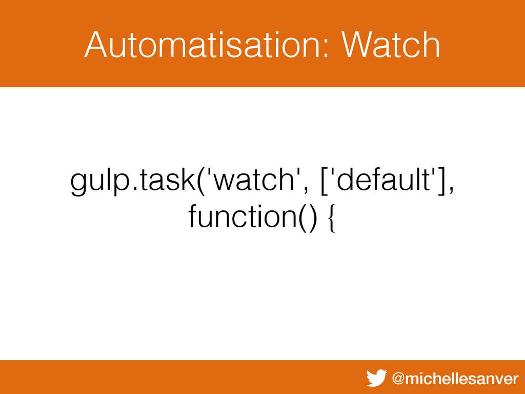 @michellesanver Automatisation: Watch gulp.task...