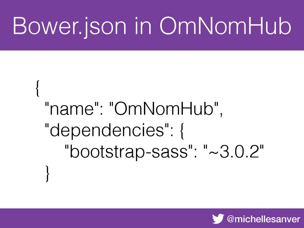 """@michellesanver Bower.json in OmNomHub { """"name""""..."""
