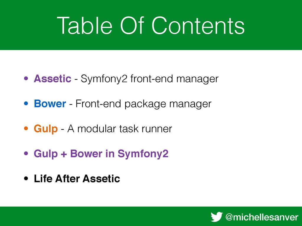 @michellesanver Table Of Contents • Assetic - S...