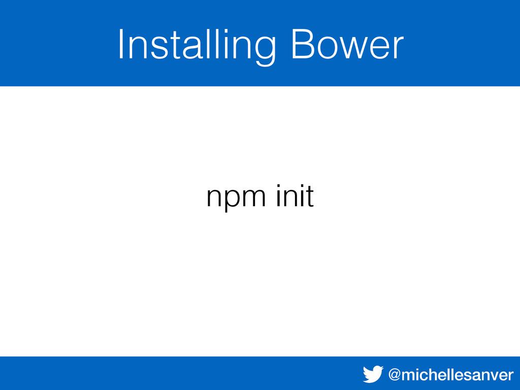@michellesanver Installing Bower npm init