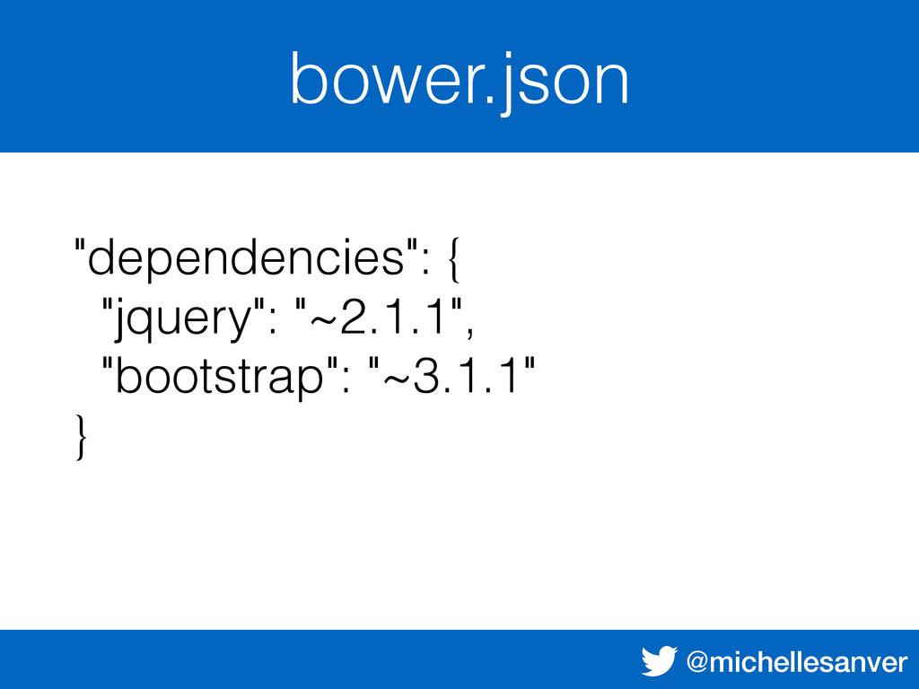 "@michellesanver bower.json ""dependencies"": { ""j..."