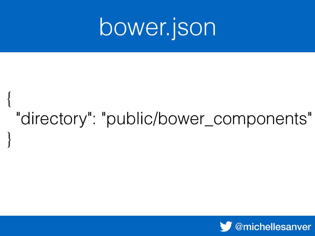 """@michellesanver bower.json { """"directory"""": """"publ..."""