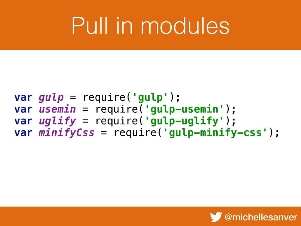 @michellesanver Pull in modules var gulp = requ...