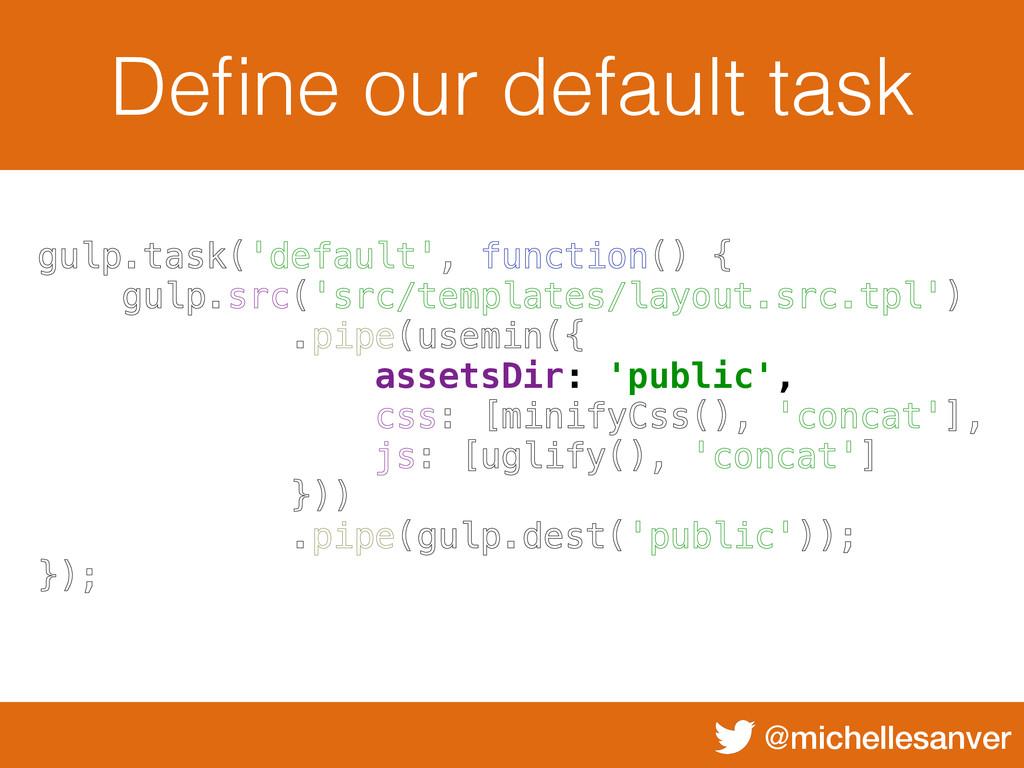 @michellesanver Define our default task gulp.tas...