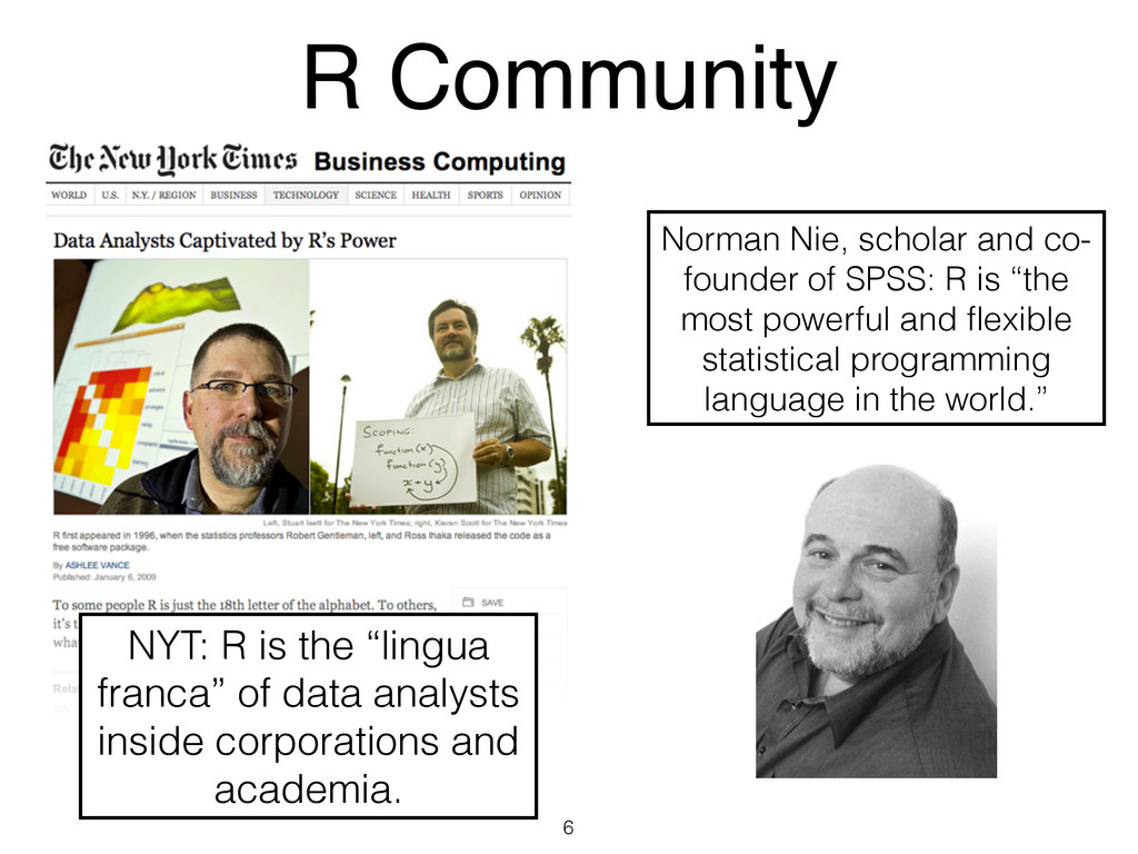 "R Community 6 NYT: R is the ""lingua franca"" of ..."