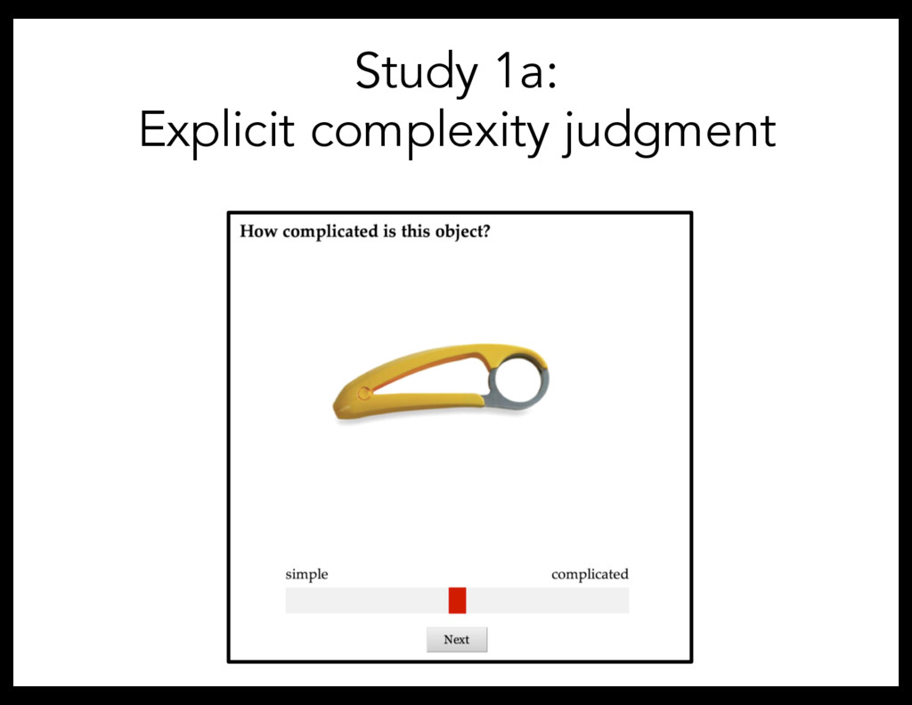 Study 1a: Explicit complexity judgment