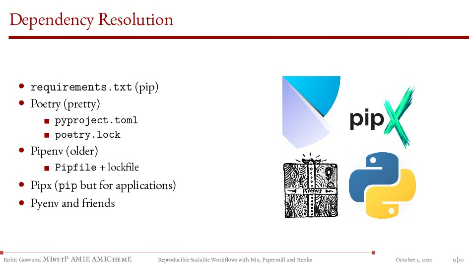 Dependency Resolution • requirements.txt (pip) ...