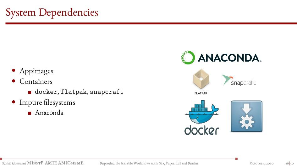 System Dependencies • Appimages • Containers do...