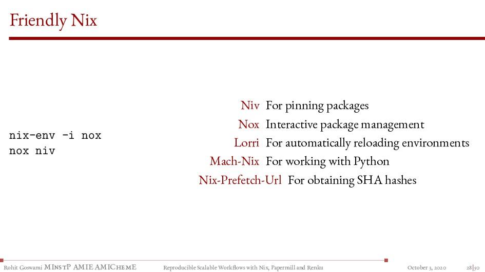 Friendly Nix nix-env -i nox nox niv Niv For pin...