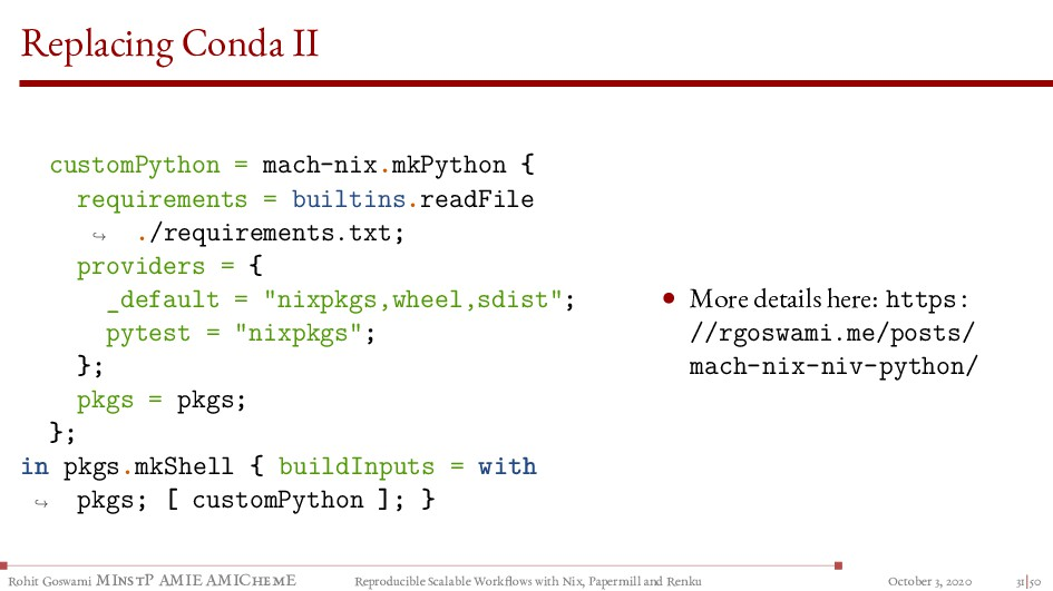 Replacing Conda II customPython = mach-nix.mkPy...
