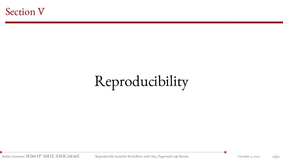 Section V Reproducibility Rohit Goswami MInstP ...