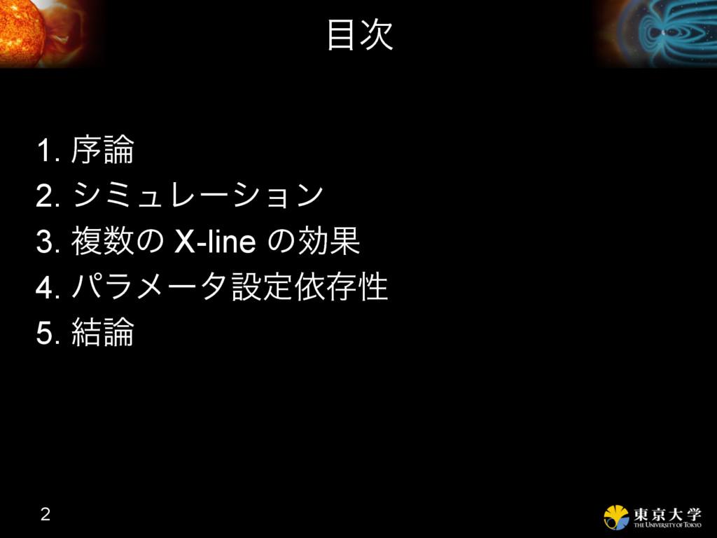  1. ং 2. γϛϡϨʔγϣϯ 3. ෳͷ X-line ͷޮՌ 4. ύϥϝʔλ...
