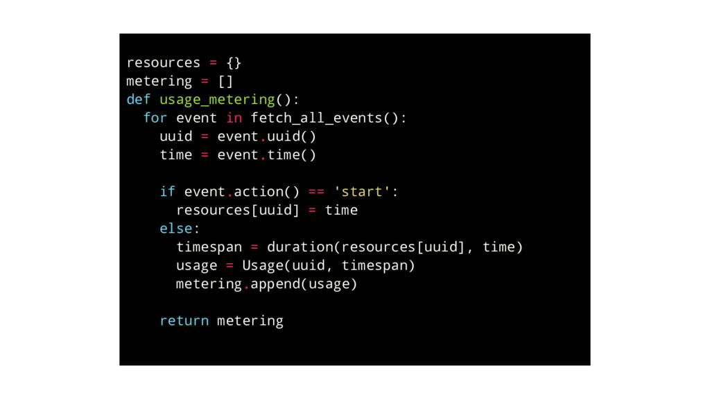 resources = {} metering = [] def usage_metering...