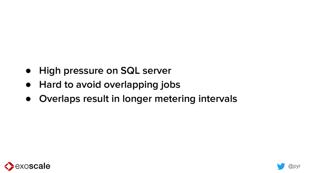 @pyr ● High pressure on SQL server ● Hard to av...