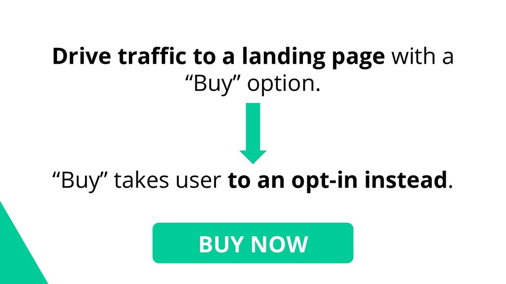 """Drive traffic to a landing page with a """"Buy"""" op..."""
