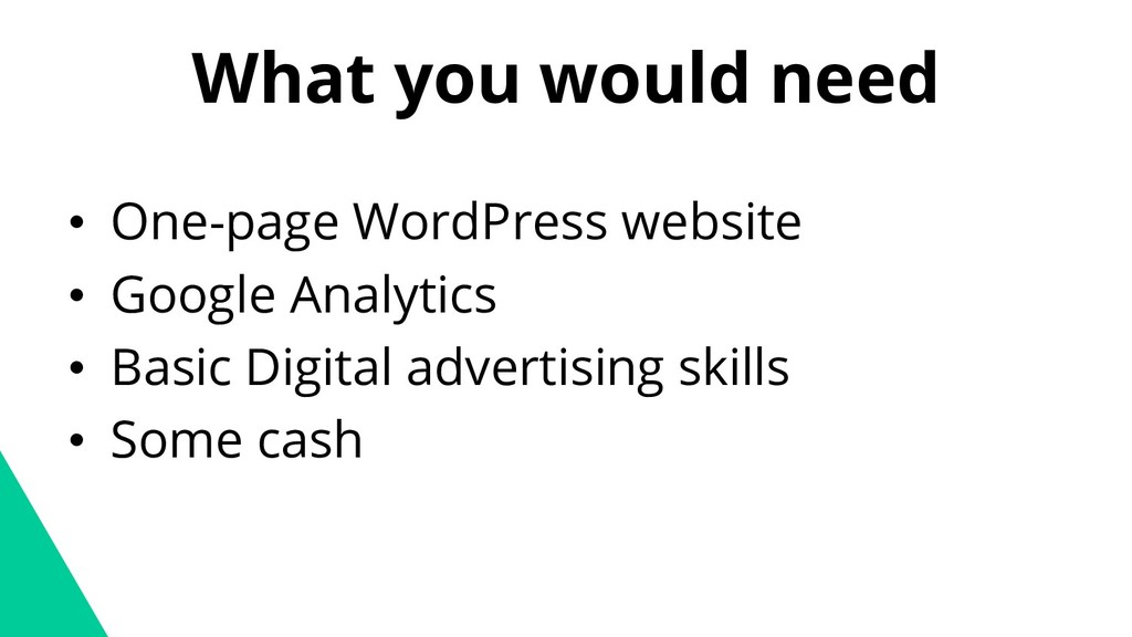 What you would need • One-page WordPress websit...