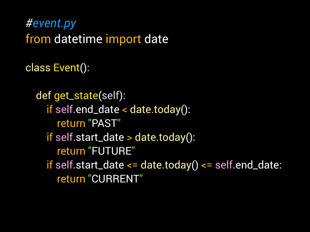 #event.py from datetime import date ! class Eve...
