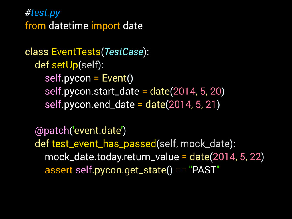 #test.py from datetime import date ! class Even...