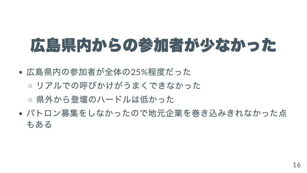 広島県内からの参加者が少なかった 広島県内の参加者が全体の25% 程度だった リアルでの呼びか...