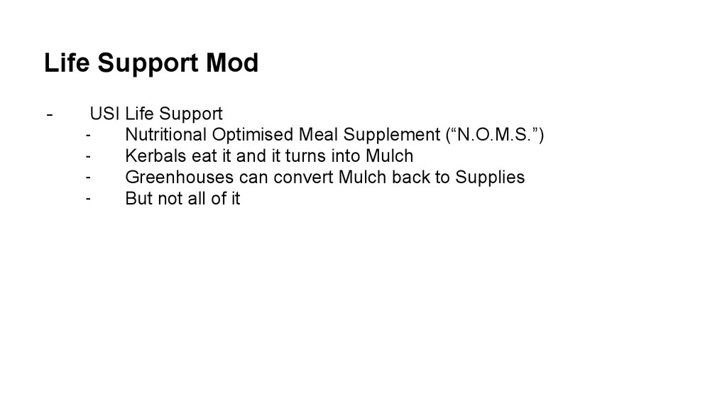Life Support Mod - USI Life Support - Nutrition...