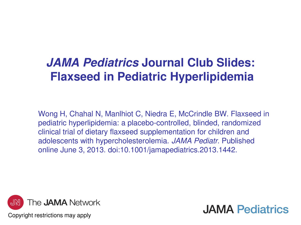 Copyright restrictions may apply JAMA Pediatric...