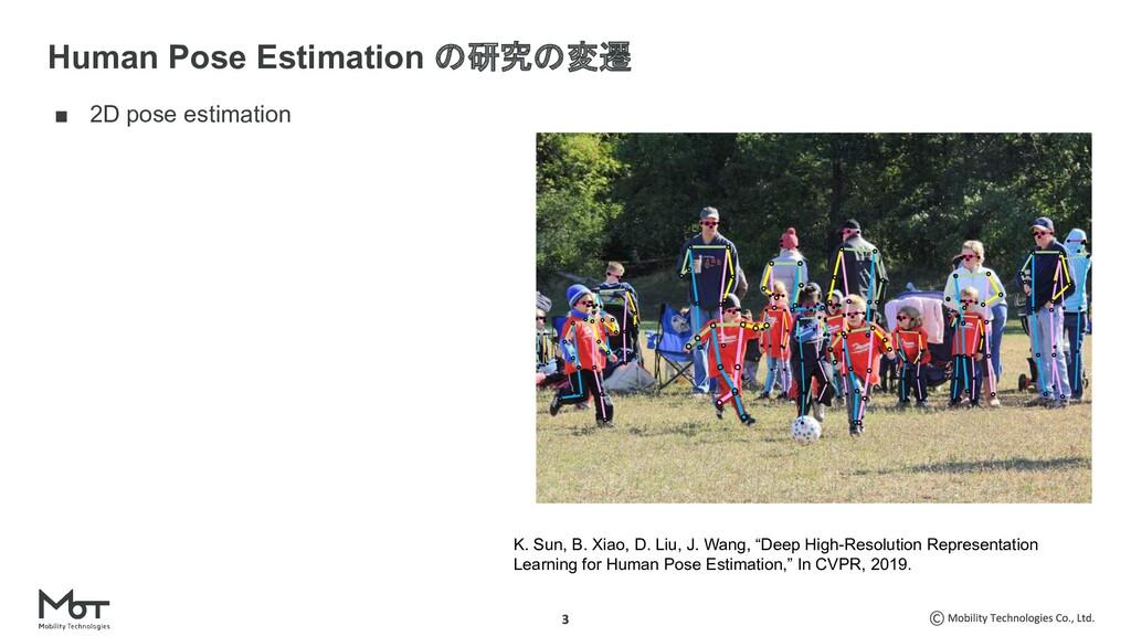 ■ 2D pose estimation Human Pose Estimation の研究の...
