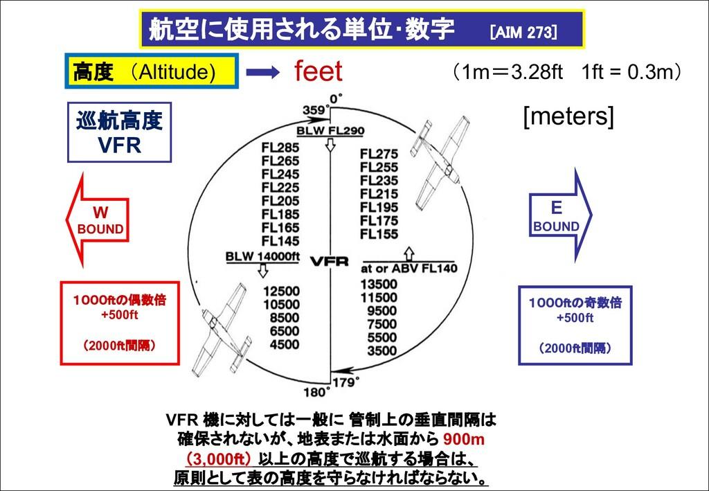航空に使用される単位・数字 [AIM 273] VFR 機に対しては一般に 管制上の垂直間隔は...