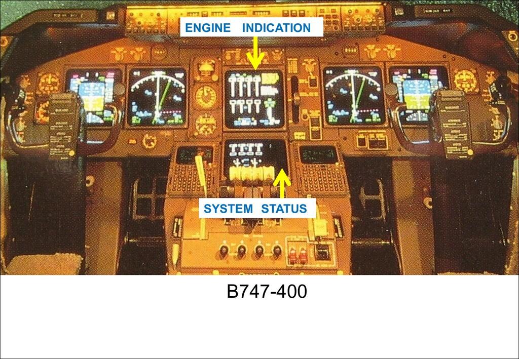 B747-400 ENGINE INDICATION SYSTEM STATUS