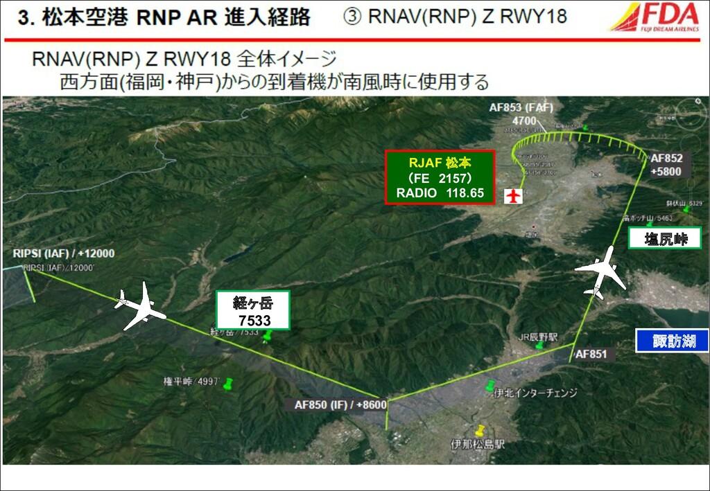 諏訪湖 経ヶ岳 7533 RJAF 松本 (FE 2157) RADIO 118.65 塩尻峠