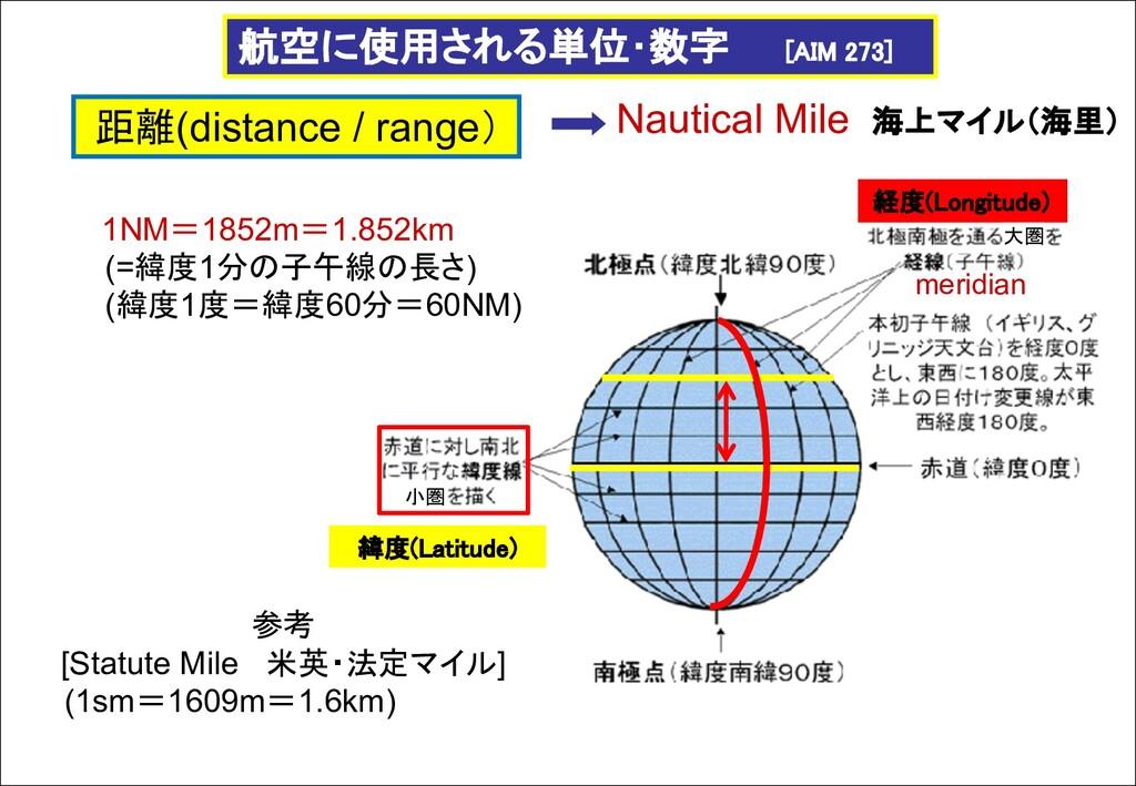 航空に使用される単位・数字 [AIM 273] 距離(distance / range) Na...