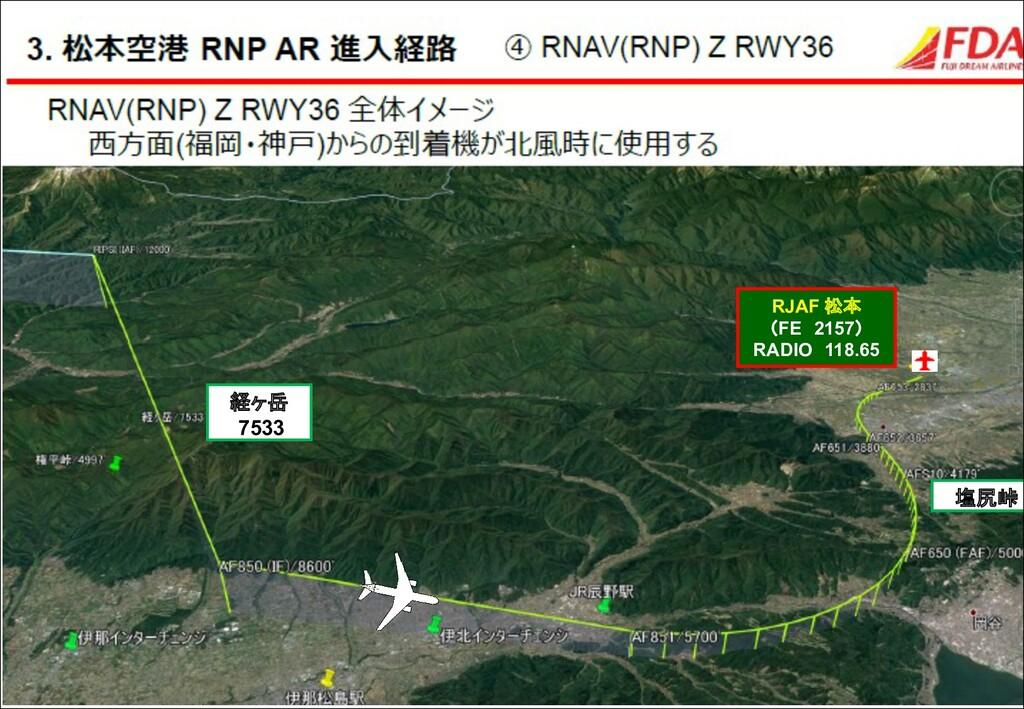経ヶ岳 7533 塩尻峠 RJAF 松本 (FE 2157) RADIO 118.65