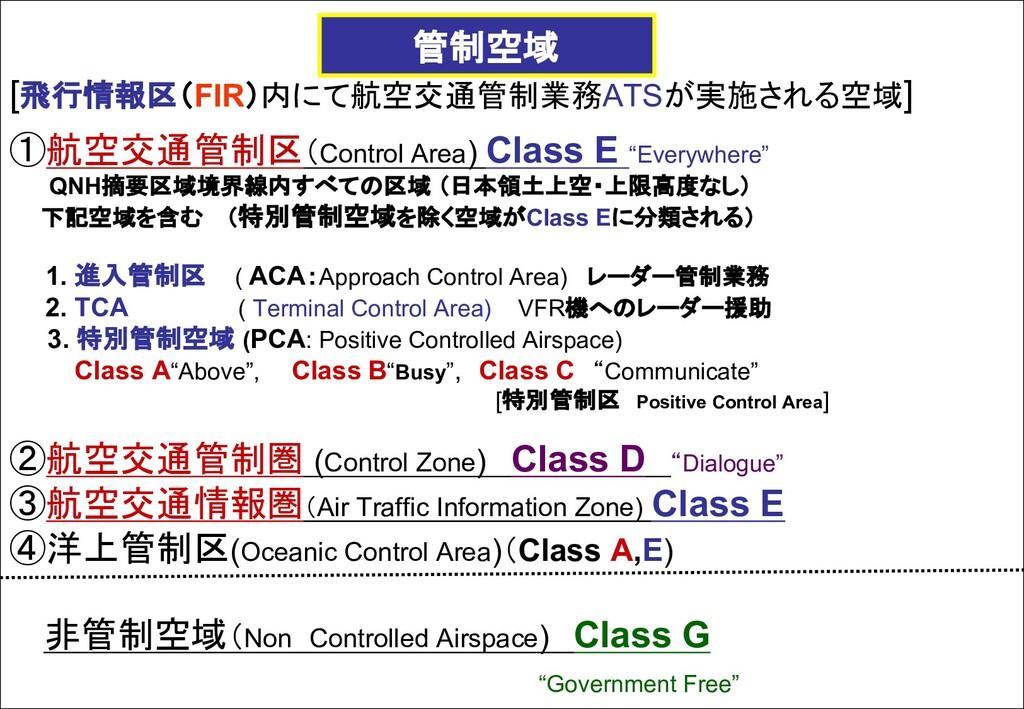 [飛行情報区(FIR)内にて航空交通管制業務ATSが実施される空域] ①航空交通管制区(Con...