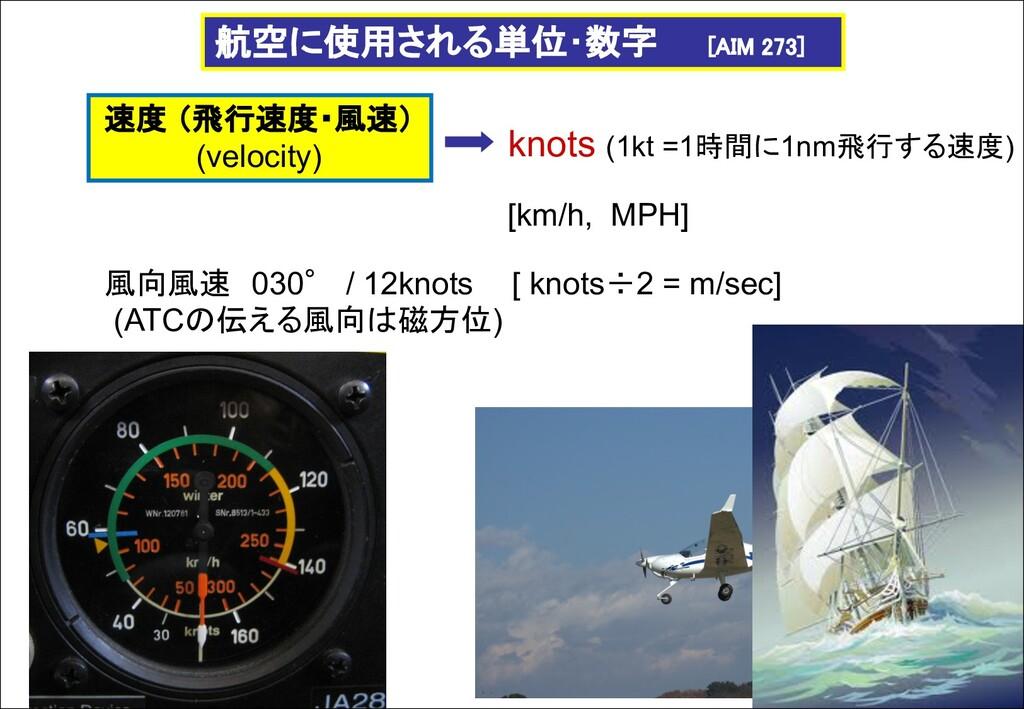 knots (1kt =1時間に1nm飛行する速度) 航空に使用される単位・数字 [AIM 2...