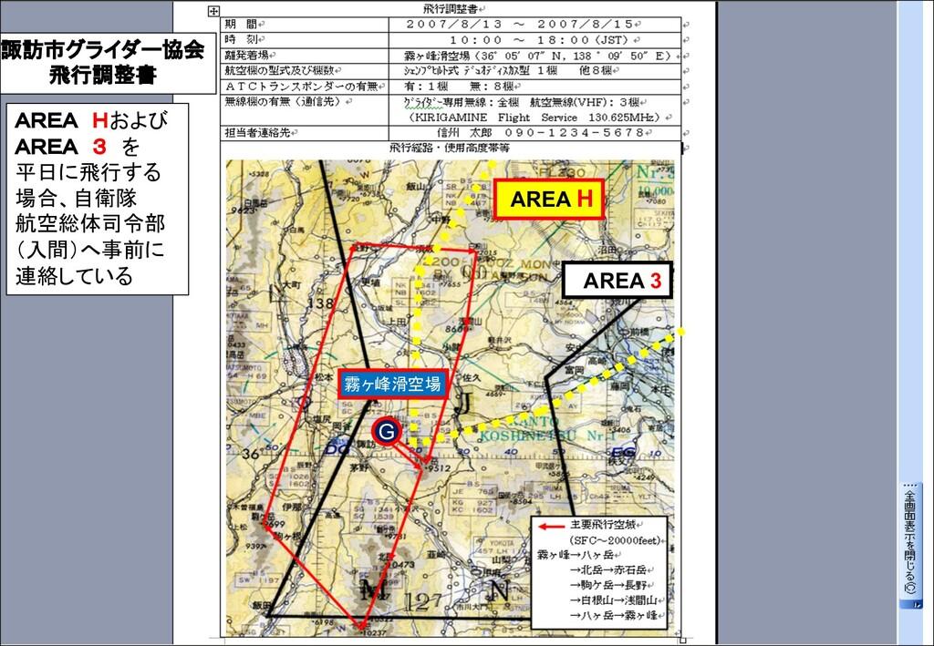 諏訪市グライダー協会 飛行調整書 AREA Hおよび AREA 3 を 平日に飛行する 場合、...