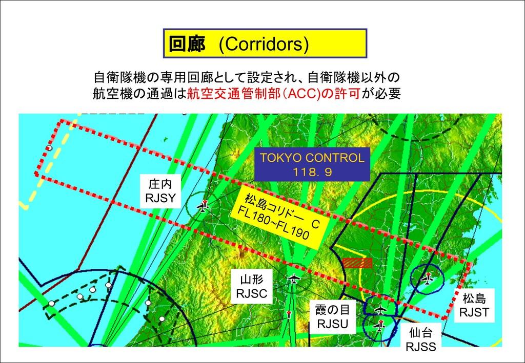 回廊 (Corridors) 自衛隊機の専用回廊として設定され、自衛隊機以外の 航空機の通過は...