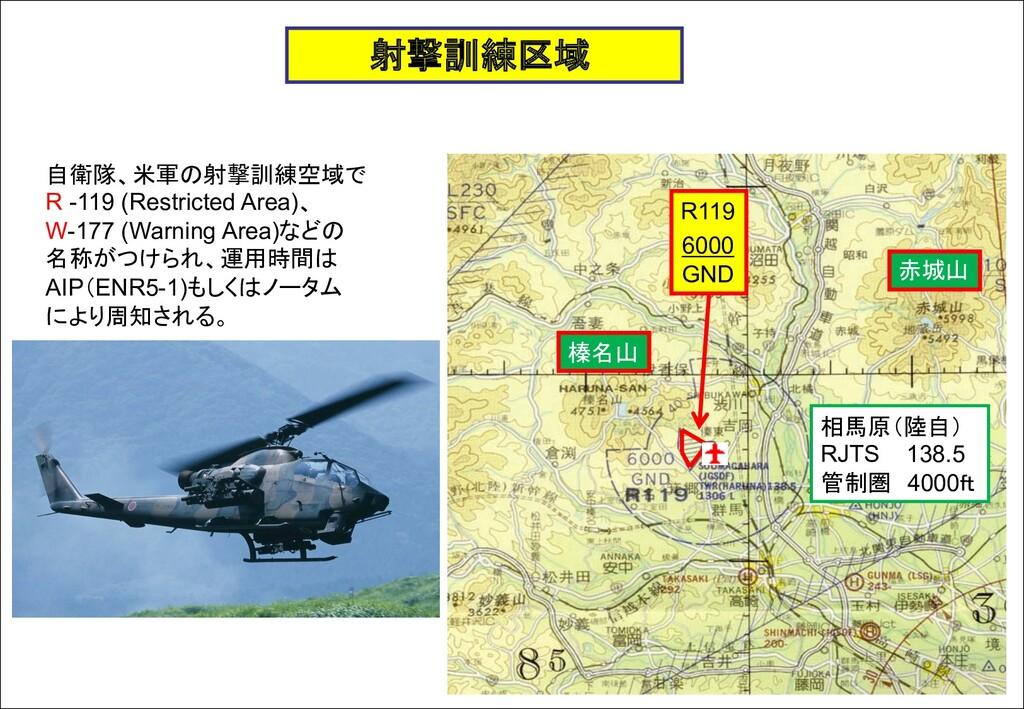 射撃訓練区域 自衛隊、米軍の射撃訓練空域で R -119 (Restricted Area)、...