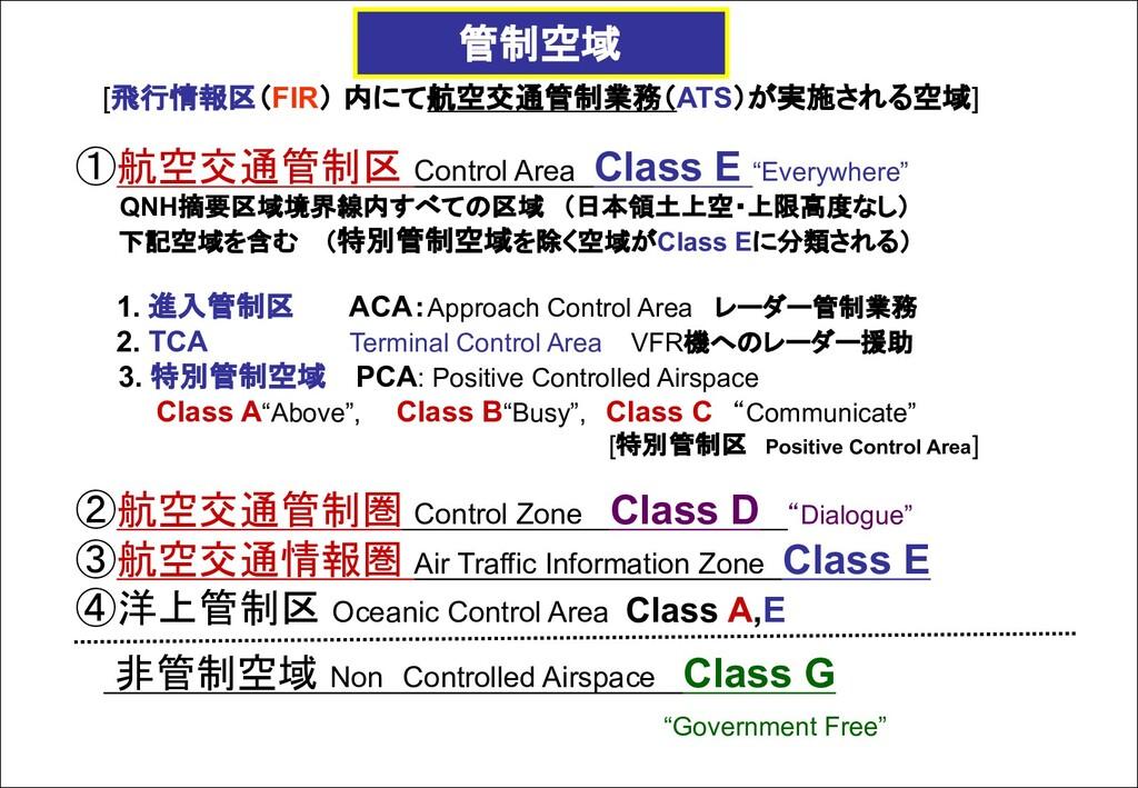 [飛行情報区(FIR) 内にて航空交通管制業務(ATS)が実施される空域] ①航空交通管制区 ...