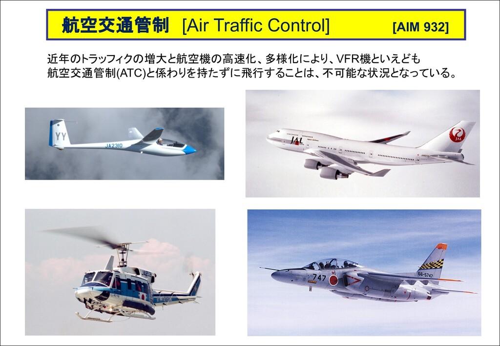 近年のトラッフィクの増大と航空機の高速化、多様化により、VFR機といえども 航空交通管制(AT...