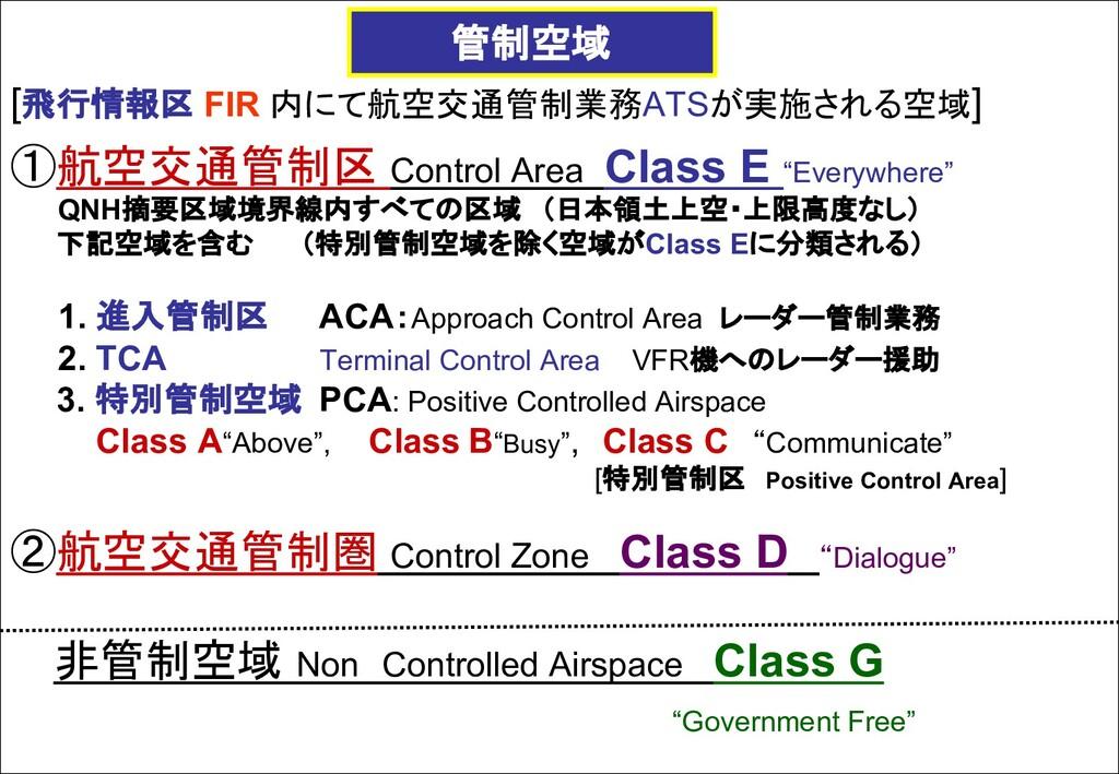 [飛行情報区 FIR 内にて航空交通管制業務ATSが実施される空域] ①航空交通管制区 Con...