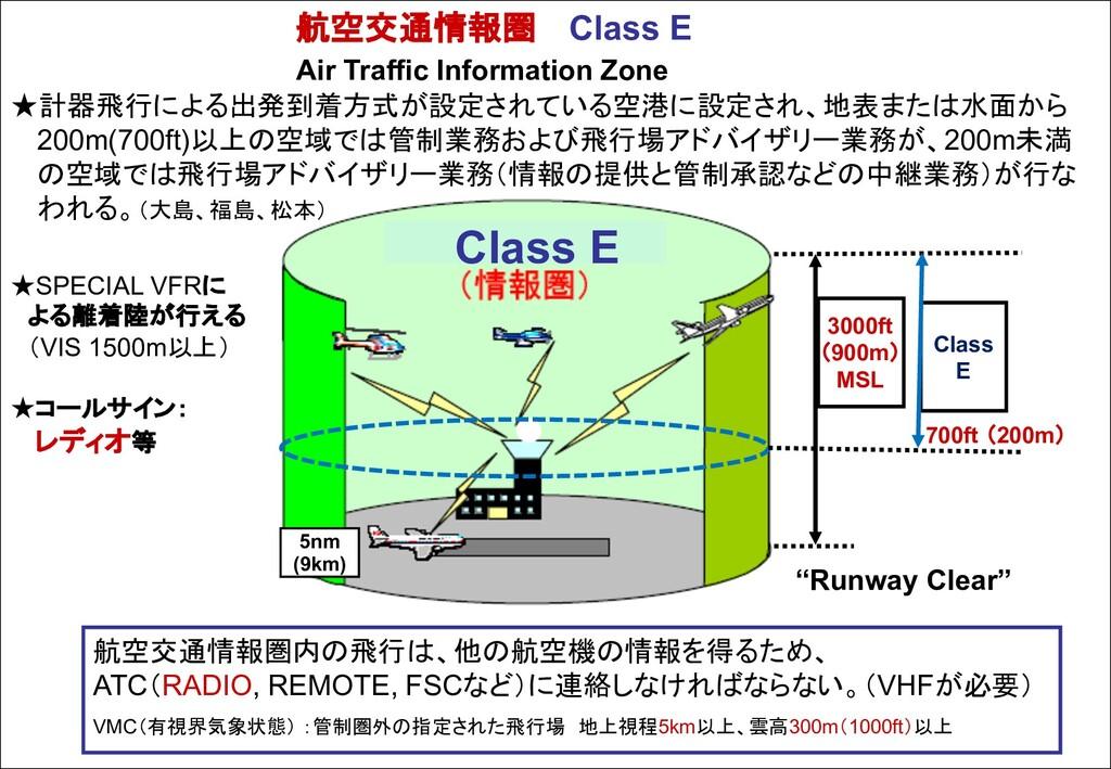 航空交通情報圏 Class E Air Traffic Information Zone ★計...