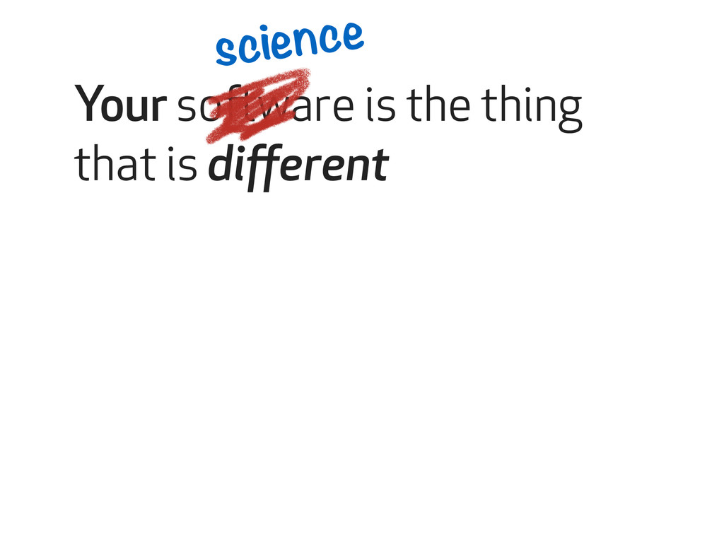 Your software is the thing that is different sci...